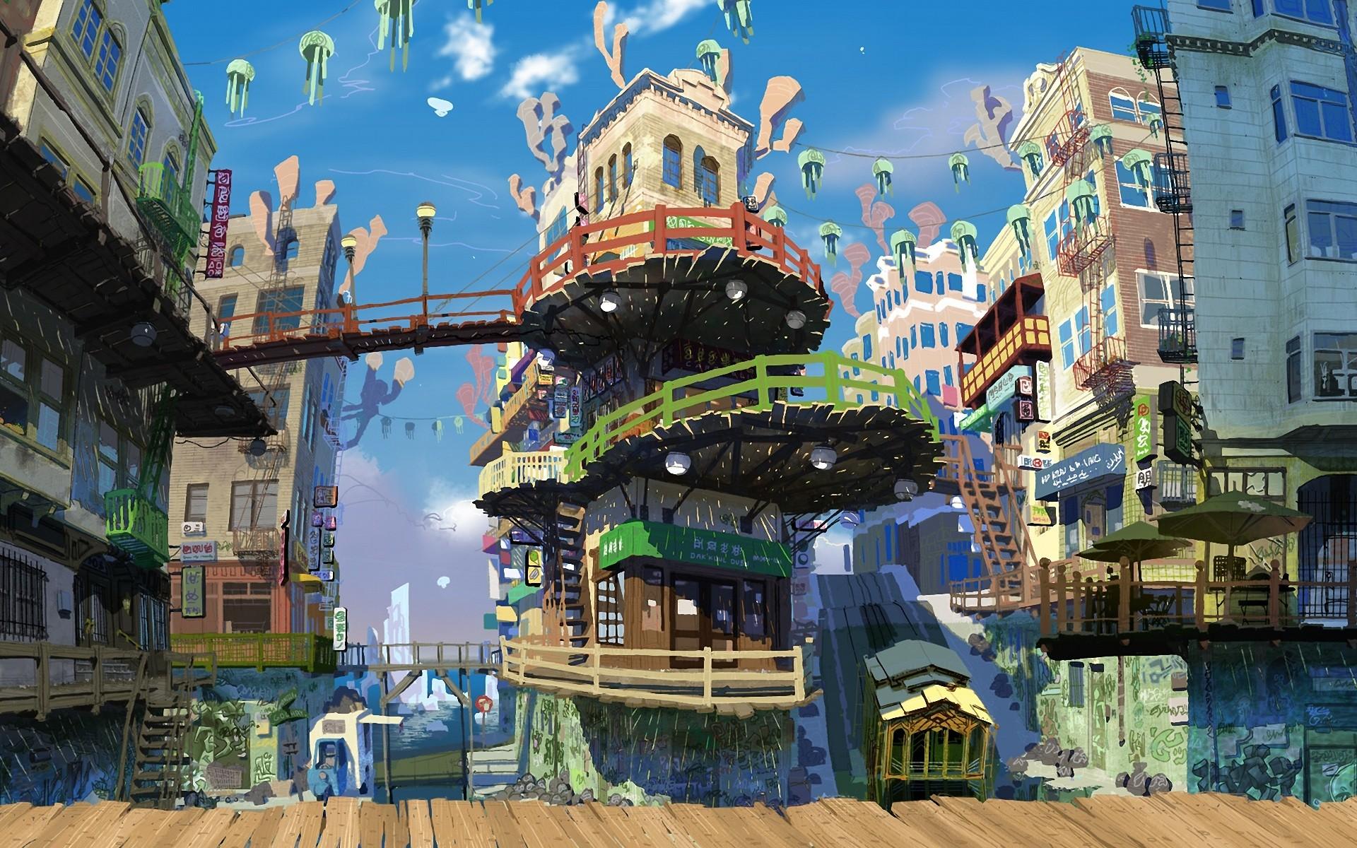 аниме обои для рабочего стола аниме города № 832006 бесплатно